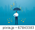 Business man holding an umbrella, money falling from the sky. concept of success. vector illustration 67843383