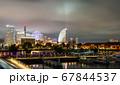 夜の横浜ベイエリア みなとみらい21と赤レンガ倉庫 67844537