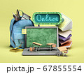 online education concept Blue backpack with school 67855554