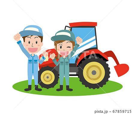 トラクターと農作業をする男女 67859715