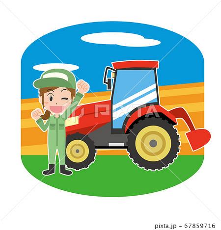 トラクターと農作業をする女性 67859716