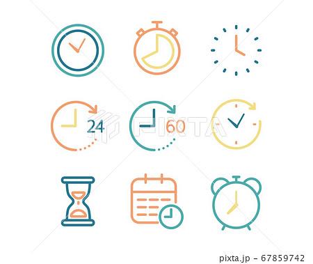 シンプルな時計のアイコンのセット/タイマー/ストップウォッチ/時間/目覚まし時計 67859742