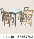 Wooden table and four chairs. 67863708
