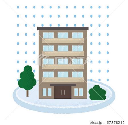 大雪の被害に遭うマンションのベクターイラスト 67878212