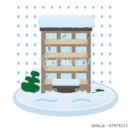 大雪の被害に遭うマンションのベクターイラスト 67878213