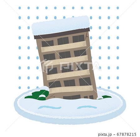 大雪の被害に遭うマンションのベクターイラスト 67878215