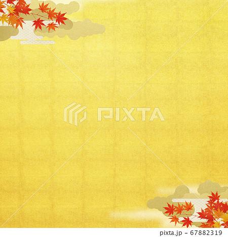 日本の秋をイメージした金箔と紅葉の背景 67882319