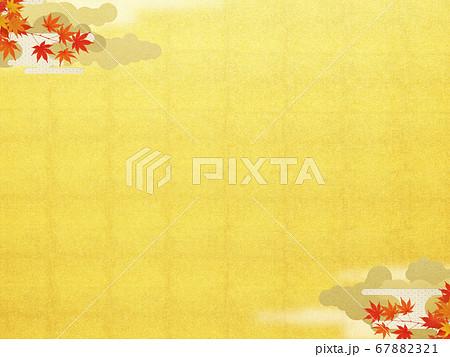 日本の秋をイメージした金箔と紅葉の背景 67882321