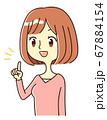 若い女性 表情 提案 指差し イラスト 67884154