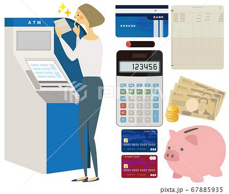ATMを操作する女性 通帳セット 67885935
