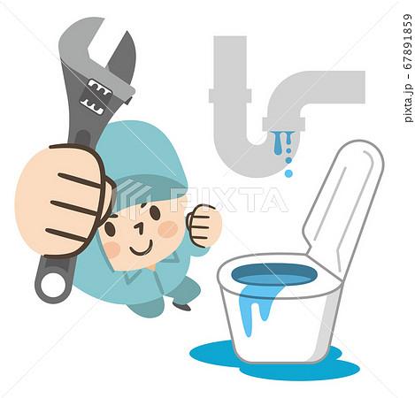 水漏れトラブルの対処をする作業員 67891859