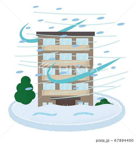 吹雪の被害に遭うマンションのベクターイラスト 67894400