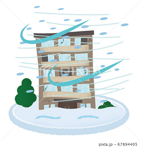 吹雪の被害に遭うマンションのベクターイラスト 67894405