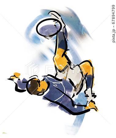 サッカーの技-オーバーヘッドシュート 67894799