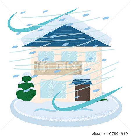 吹雪の被害を受ける住宅のベクターイラスト 67894910