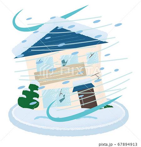 吹雪の被害を受ける住宅のベクターイラスト 67894913