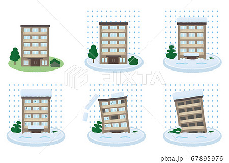 大雪の被害に遭うマンションのベクターイラストセット 67895976