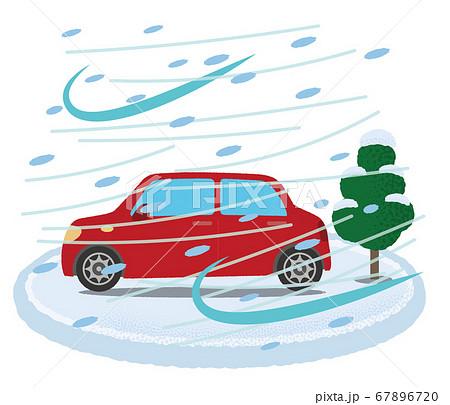 吹雪に遭う赤い自動車のベクターイラスト 67896720