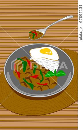 タイ料理のガパオライス(ガパオとハーブ)ひき肉のバジル炒めご飯 67897131