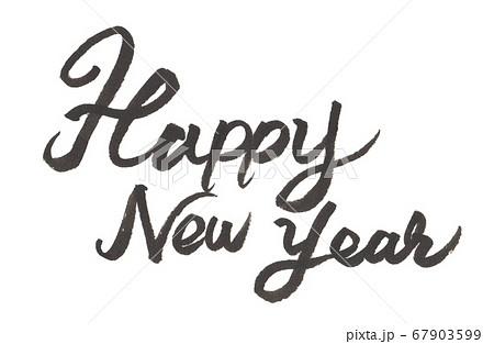 筆で手書きしたHappy new yearの文字 67903599