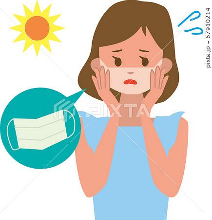 マスクをしたまま日焼けをしてしまった女性 67910214