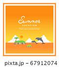 ジャンプするイルカと夕焼けの海の四角フレーム【タイトル文字入り】 67912074