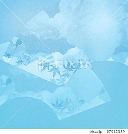 扇をモチーフとした水色の和風背景 67912389