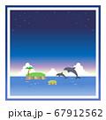 ジャンプするイルカと夜の海の四角フレーム 67912562