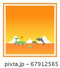 ジャンプするイルカと夕焼けの海の四角フレーム 67912565