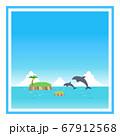 ジャンプするイルカと昼の海の四角フレーム 67912568