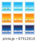 昼・夕・夜の海の四角フレームセット 67912610