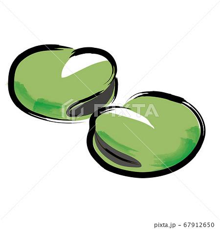 アナログタッチ筆描き水彩画 そら豆空豆のイラスト野菜 67912650