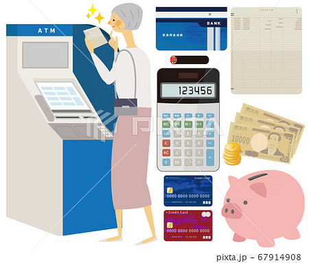 ATMで通帳を見るおばあちゃん 67914908
