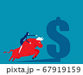 Riding on the back of an bull. Business stock 67919159