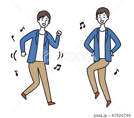 ジャケットの男性1 踊る・スキップ 67920749
