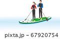 スタンドアップパドルボート を漕ぐカップル 67920754