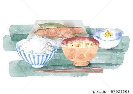 和食の朝ごはん水彩画 67921503
