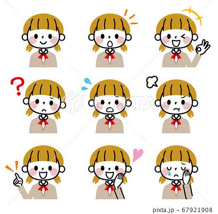 女子学生 表情 セット 67921908