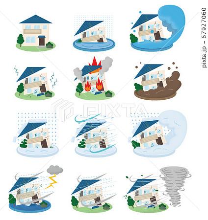 災害に遭い崩壊する住宅のベクターイラストセット 67927060