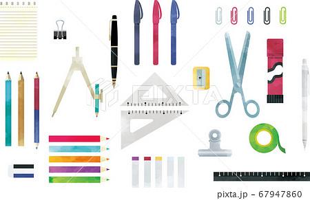 おしゃれなデザインの文房具セット 水彩風イラスト 67947860
