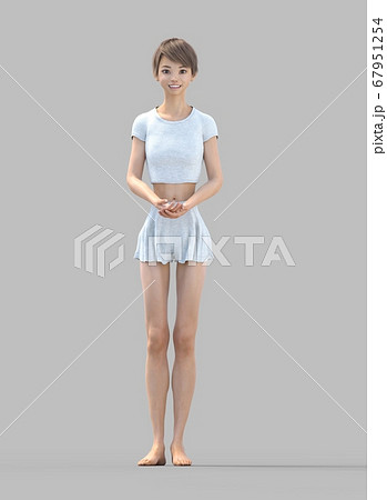 ルームウェアの女性 perming3DCG イラスト素材 67951254
