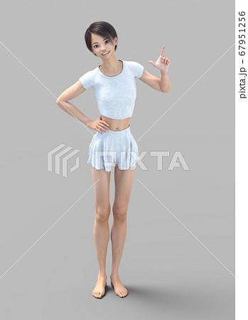 ルームウェアの女性 perming3DCG イラスト素材 67951256