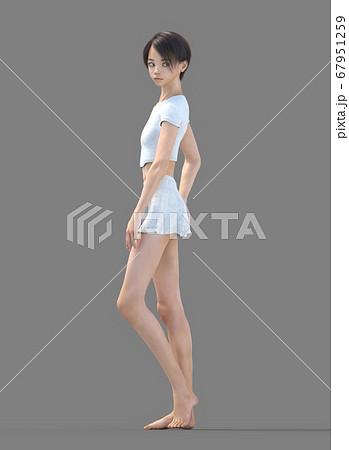 ルームウェアの女性 perming3DCG イラスト素材 67951259