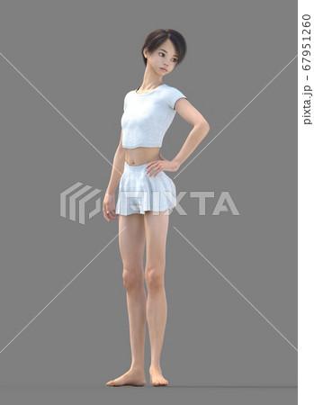 ルームウェアの女性 perming3DCG イラスト素材 67951260
