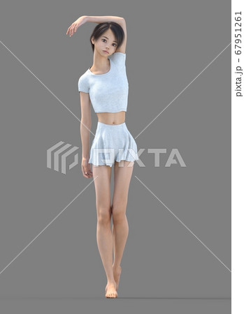 ルームウェアの女性 perming3DCG イラスト素材 67951261