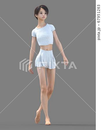 ルームウェアの女性 perming3DCG イラスト素材 67951263