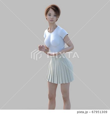 ポーズするカジュアルファッションの女性 perming3DCGイラスト素材 67951309