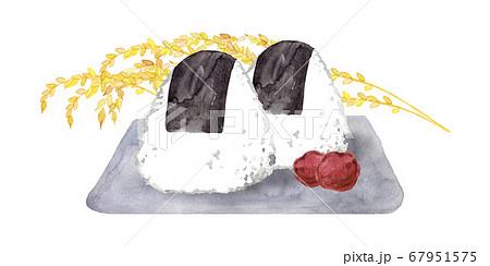 おにぎりと稲穂の水彩画 67951575