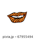 Womens smiling tiger-colored lips cartoon vector illustration isolated. 67955494
