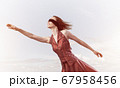 Concept of freedom and happiness with girl enjoying this life 67958456